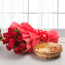 A gift that consists both beauty and health is a rare combination. To give you that rare happines 12 Red Rose bunch +1/2kg Mixed dry fruits basket