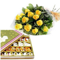 ASSORTED SWEETS AND ROSES to Vizag