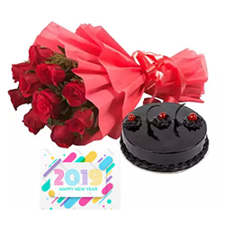 10 Red roses bunch Dukes 1/2kg Round chocolate cake