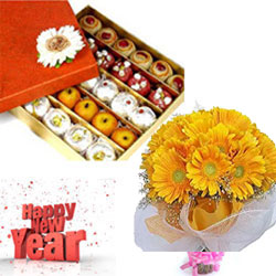 1/2kg Kova mixed sweets +10 Cute Fresh Yellow Gerbera bunch