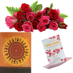 Hamper includes Nightingale Executive Diary 2018 + 12 fresh red roses bunch + Greeting Card.