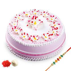 Rakhi with Strawberry Cake