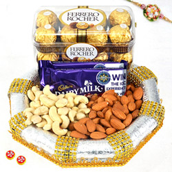 Mixed Chocolates & DryFruits with Rakhi
