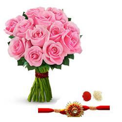 Pink roses with Rakhi
