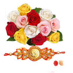 Mixed roses with Rakhi