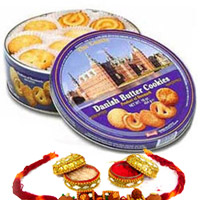 Send this box of Danish Butter Cookies (400gm) to your friends & family in India RAKHI WITH COOKIES