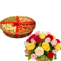 Gift your dear brother 400 Gms Dry Fruits decorated on a basket 24 Basket Arrangement of Mixed Color Roses to your loved ones, family and friends