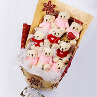 9 Teddies Bouquet