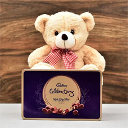 The combo has one loveable 10 inches teddy bear along with Rich Dry Fruit Cadbury Celebrations 177gms Tin Box. Gift this to your girlfriend, wife, boyfriend, husband.