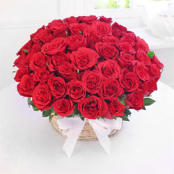 Basket of 50 Red Roses