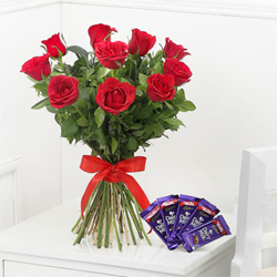 Red Roses with Cadbury Dairy Milk