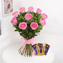 Pink Roses With Chocolates