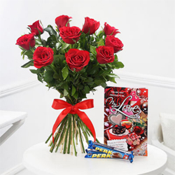 Roses with Bars of Perk Chocolate