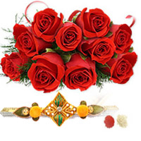 Rakhi with Flowers to guntur